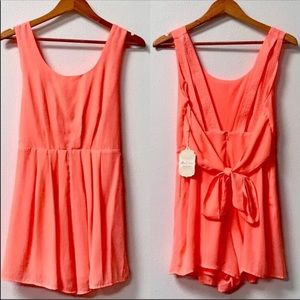 Altar'd State Neon Cora Pink Romper with Pockets
